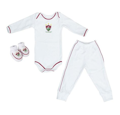 Kit Bebê Fluminense 3 Pçs Longo Torcida Baby