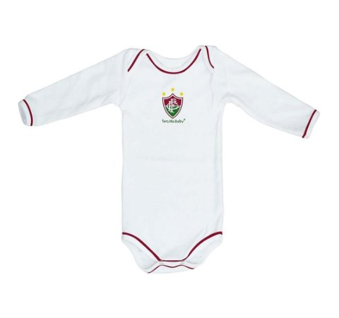 Body Fluminense Longo Branco Torcida Baby Oficial