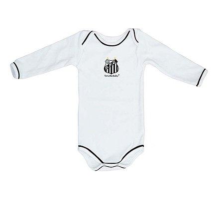 Body Santos Branco Longo Torcida Baby