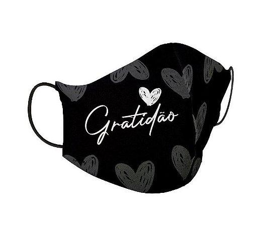 Máscara de Proteção Tecido Gratidão Preto Oficial