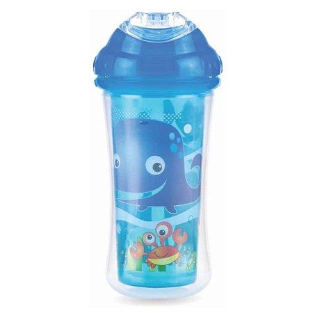 Copo Infantil Térmico Bico Ergonômico Azul 270ml Nuby