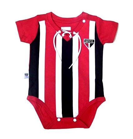 Body Bebê São Paulo Retrô Tricolor Oficial