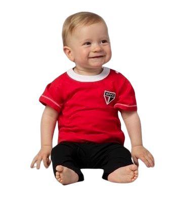 Camiseta Bebê São Paulo Vermelha MO Oficial