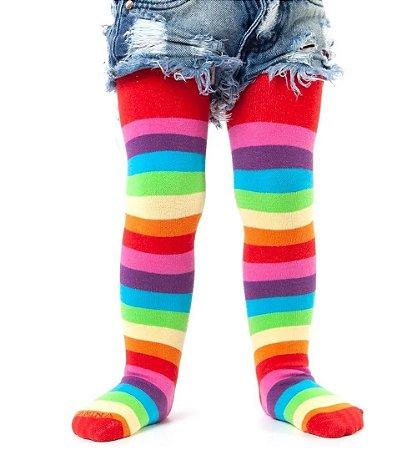 Meia Calça Infantil Listrada Colorida Algodão