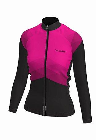 Camisa ciclismo feminino manga longa rosado marine ref 1041 c2