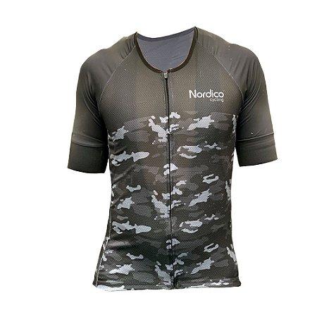 camisa ciclismo nordico camuflado black com faixa refletiva ref 1100 c6