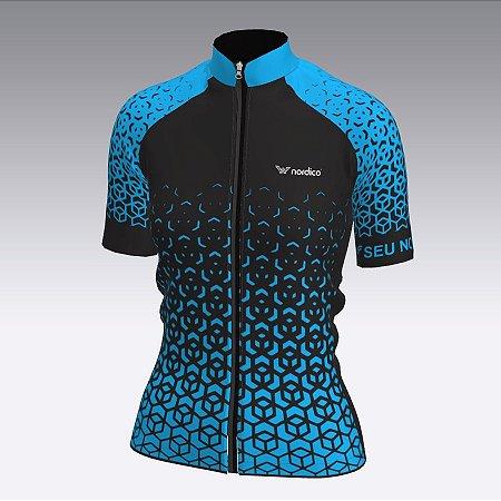 camisa ciclismo feminino nordico nitro personalizado azul  ref 1349  c1