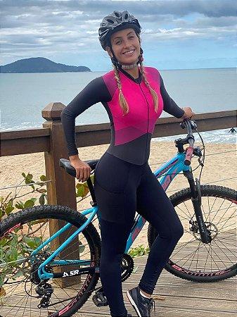 macaquinho calça ciclismo feminino manga longa rosado marine 1229 m14