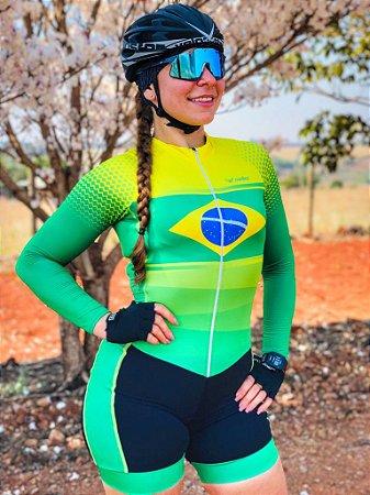 macaquinho ciclismo feminino brasil manga longa ref 1358 m 29