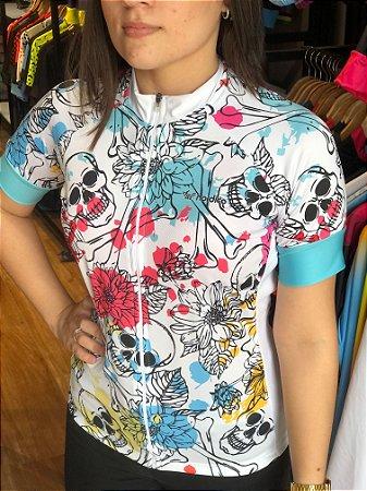 camisa ciclismo feminino nordico caveira aquarela ref 1377 c1
