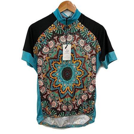 camisa feminina ciclismo nordico mandala azul ref 1080