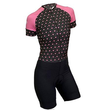 macaquinho ciclismo feminino nordico triangle pink 1142