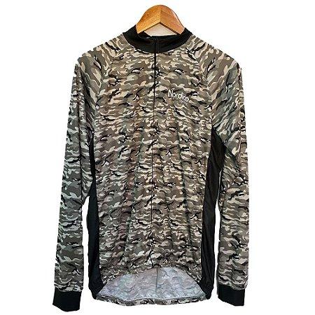 camisa ciclismo manga longa nordico camuflado cinza