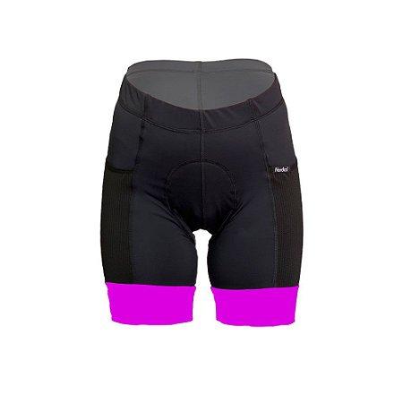 bermuda feminino ciclismo nordico com bolso barra pink