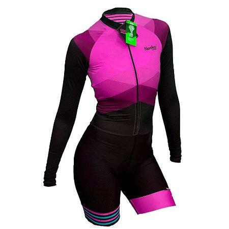 macaquinho ciclismo feminino manga longa nordico rosado marine ref 1239 m10