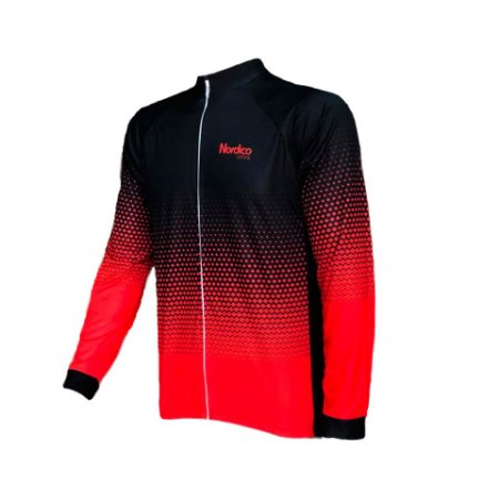 camisa ciclismo manga longa nordico agressive red ref 433