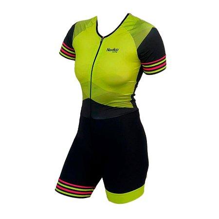 macaquinho ciclismo feminino verde marine ref 1013