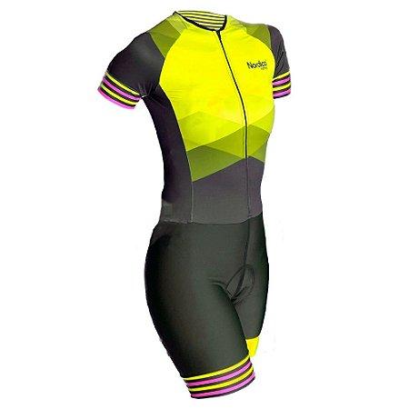 macaquinho ciclismo feminino ouro marine ref 1057