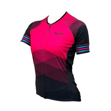 camisa ciclismo FEMININO ROSADO MARINE ref 1229