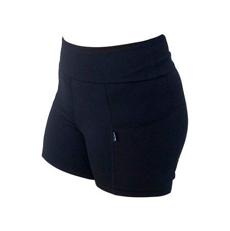 bermuda fitness feminina preta com bolso ref 1267