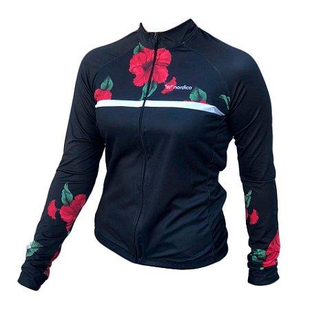 camisa ciclismo feminino manga longa rosas ref 1272