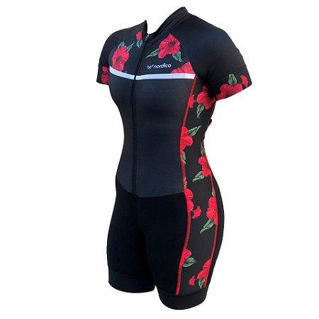 macaquinho ciclismo feminino rosas recorte lateral ref 1312