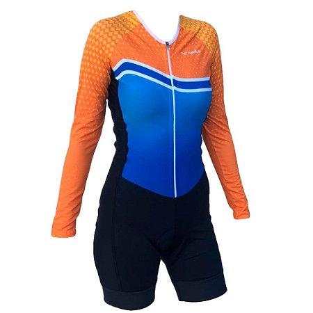 macaquinho ciclismo feminino manga longa Dri recorte lateral ref 1317