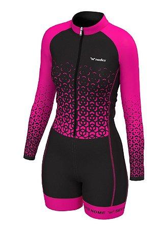 macaquinho ciclismo feminino manga longa nome personalizado ref 1326