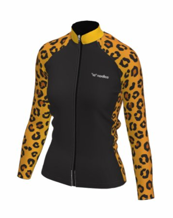 Camisa ciclismo feminino manga longa onça ref 1138d