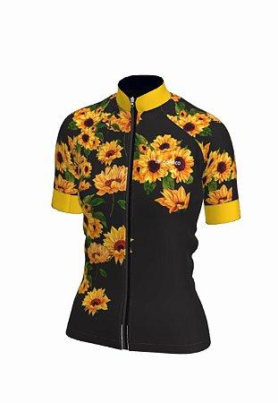 Camisa ciclismo feminino nordico girassol ref 1328c