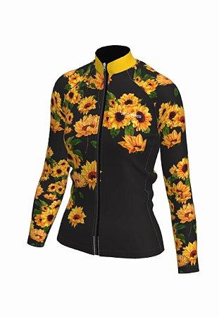 Camisa ciclismo feminino manga longa girassol ref 1328d
