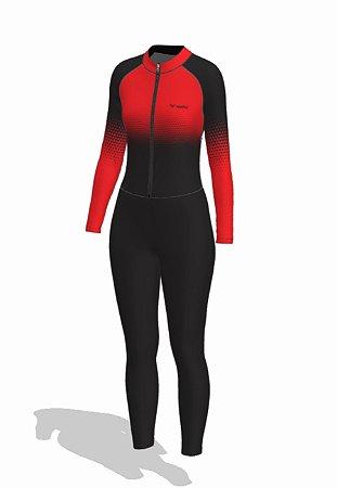 macaquinho calça ciclismo feminino manga longa setavermelha ref 1017j