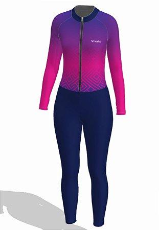 macaquinho ciclismo feminino manga longa calça tribe ref 1313j