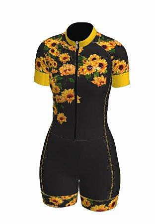 macaquinho ciclismo feminino girassol ref 1328a