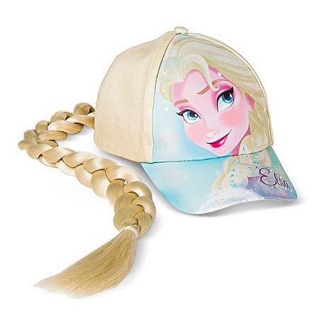 Boné Frozen Elsa Com Aplique De Trança
