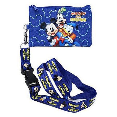 Porta Moedas com ziper e cordão mickey Disney