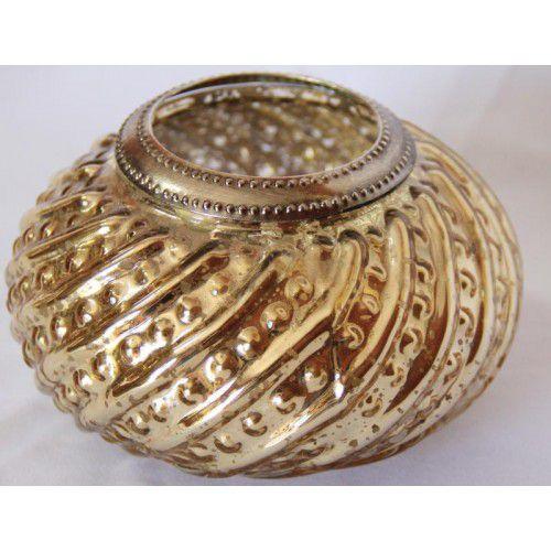 Vaso de vidro torcido dourado