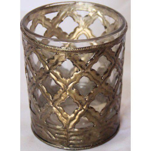 Vaso de vidro e metal envelhecido pequeno