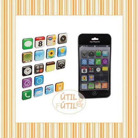 Imã Geladeira com 18 Peças Icones App Iphone