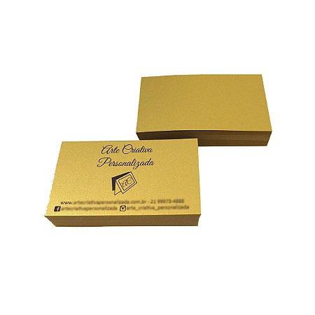 Cartão De Visita Dourado Em Papel Aurum 300g