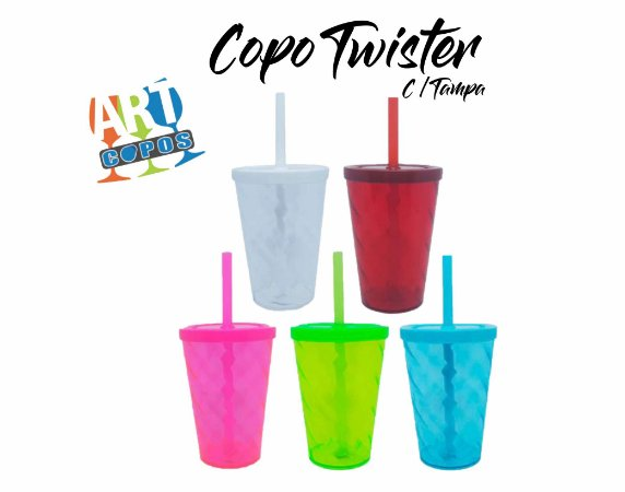 Copo Twister Com Tampa e Canudo 500 ML