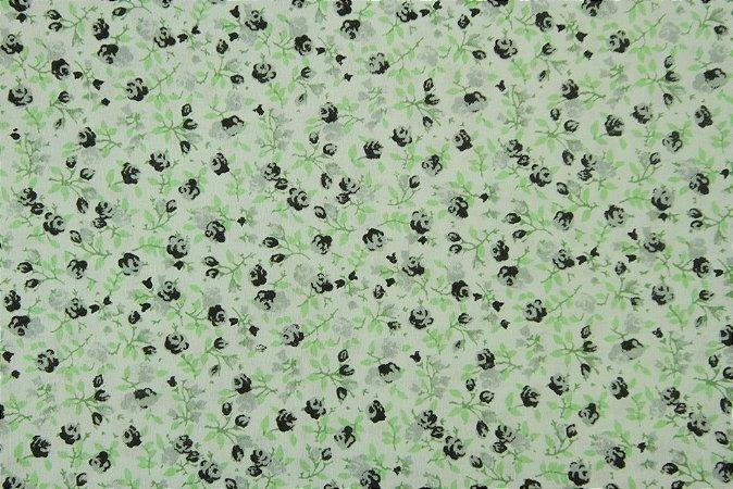 Tecido para Patchwork Floral Preto e Verde (0,50m x 1,50m)