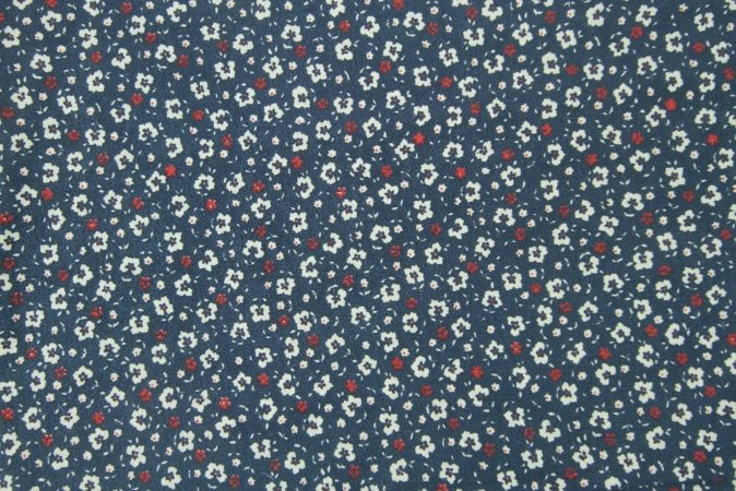 Tecido para Patchwork Liberty Branco fd. Azul Marinho (0,50m x 1,50m)