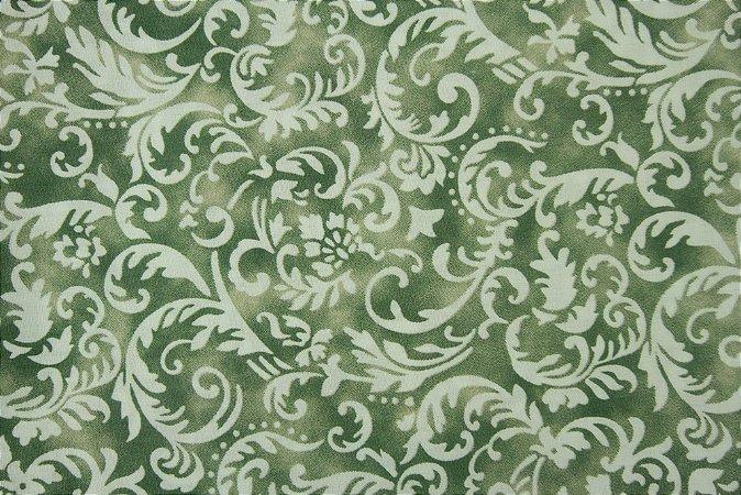 Tecido para Patchwork Arabesco Branco fd. Verde e Bege (0,50m x 1,50m)
