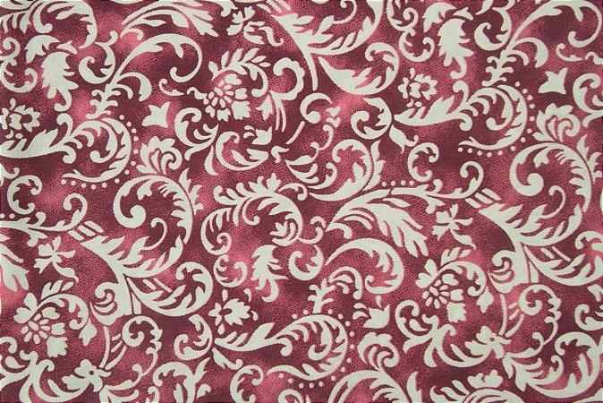 Tecido para Patchwork Arabesco Branco fd. Vermelho e Vinho (0,50m x 1,50m)