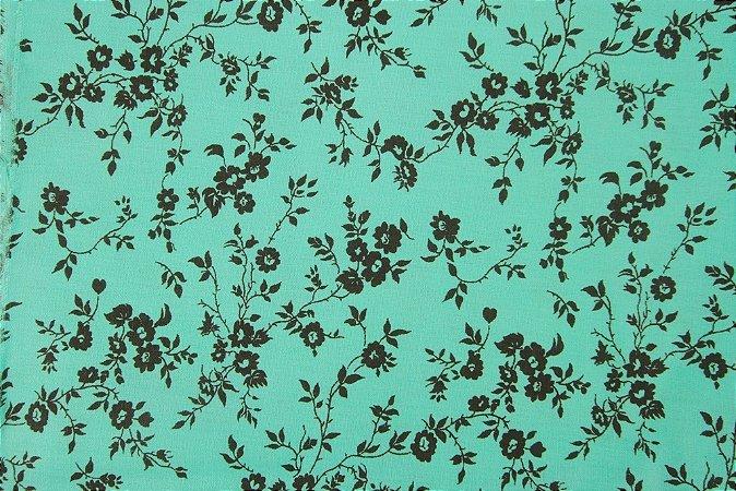 Tecido para Patchwork Floral Preto fd. Turquesa (0,50m x 1,50m)