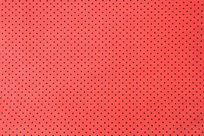 Tecido para Patchwork Poá Preto fd. Vermelho (0,50m x 1,50m)