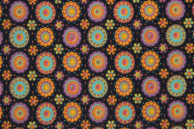 Tecido para Patchwork DF Floral Médio Azul Marinho (0,50m x 1,50m)