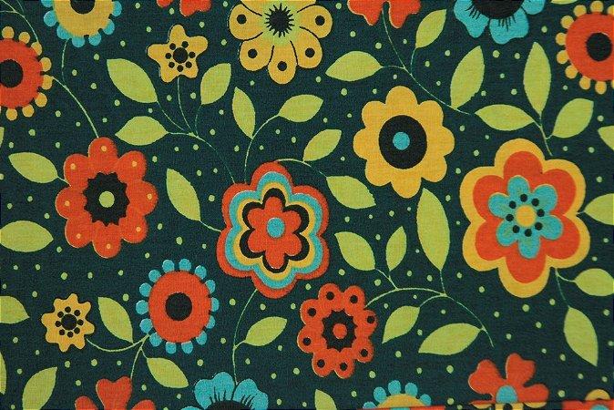Tecido para Patchwork AL Floral Grande Verde Escuro (0,50m x 1,50m)