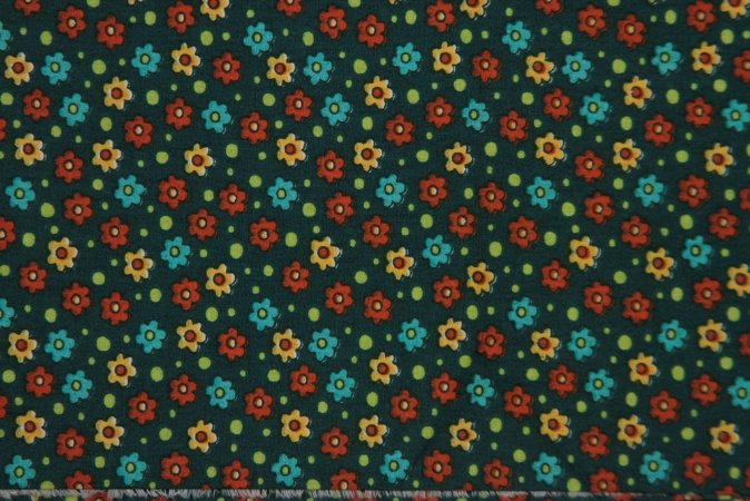 Tecido para Patchwork AL Floral Pequeno Verde Escuro (0,50m x 1,50m)